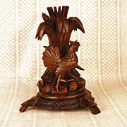 Antique Black Forest Carved Figural Candle Holder