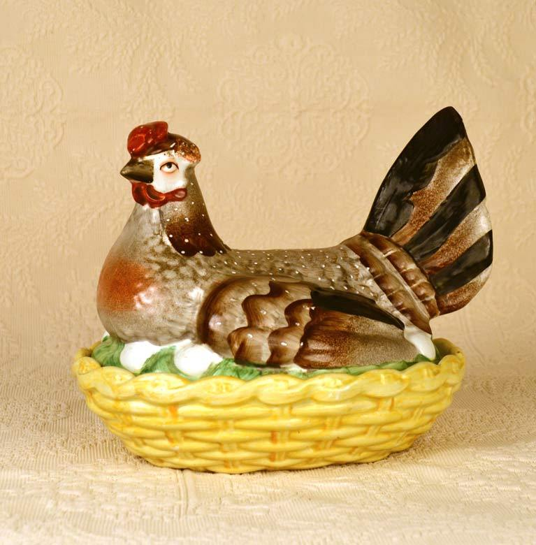 Rare Antique Nineteenth Century Staffordshire Nesting Hen on Basket