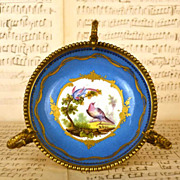 Antique French Painted Porcelain Coupe on Gilded Bronze Mount