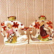 PAIR of Antique Nineteenth Century Staffordshire Figural Spill Vases