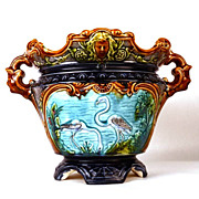 Antique Nineteenth Century French Majolica Cache Pot