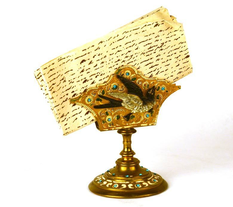 Antique 19th c. French Gilded Bronze Porte Lettre/Letter Holder