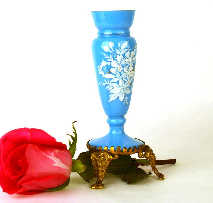 Antique 19c French Opaline Porte Fleurs