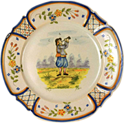 PAIR of Antique Nineteenth Century French Quimper Faience Plates