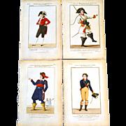 "RARE Set of Four Antique Eighteenth Century Copper Plate Hand Colored Engravings ""Galerie Dramatique"" circa 1793"