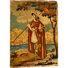 Antique Nineteenth Century Wool and Silk Needlework Scene Paysage