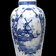 Medium Delft Flower Vase with Central Windmill Scene Medallion