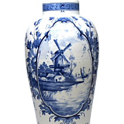Medium Delft Flower Vase with Central Windmill Scene Medallion
