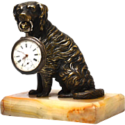 Antique Nineteenth Century Bronze Mechanical Sculpture Dog Porte Montre Watch Holder