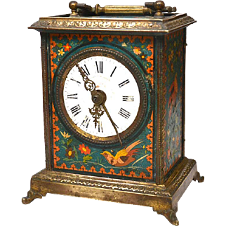 Antique Nineteenth Century French Painted Metal Gilded Bronze Carriage Clock