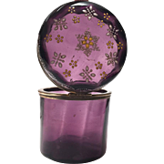 Antique Nineteenth Century Amethyst Glass Tall Casket Box with Enamel Flowers
