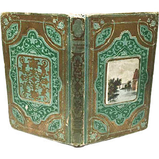 Antique Nineteenth Century French Romantic Binding with Chromolithograph Medallion