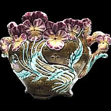 RARE Onnaing Antique Nineteenth Century French Majolica Cache Pot