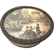 Antique Nineteenth Century French Bonbon Box w/Lithograph Scene Under Glass