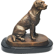 Antique Nineteenth Century French Figural Cast Bronze Dog on Marble Base