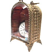 Antique Nineteenth Century French Gilded Brass Beveled Glass Porte Montre Watch Holder - Red Tag Sale Item