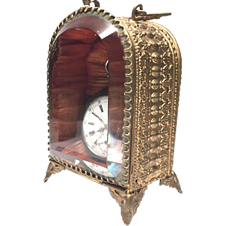Antique Nineteenth Century French Gilded Brass Beveled Glass Porte Montre Watch Holder