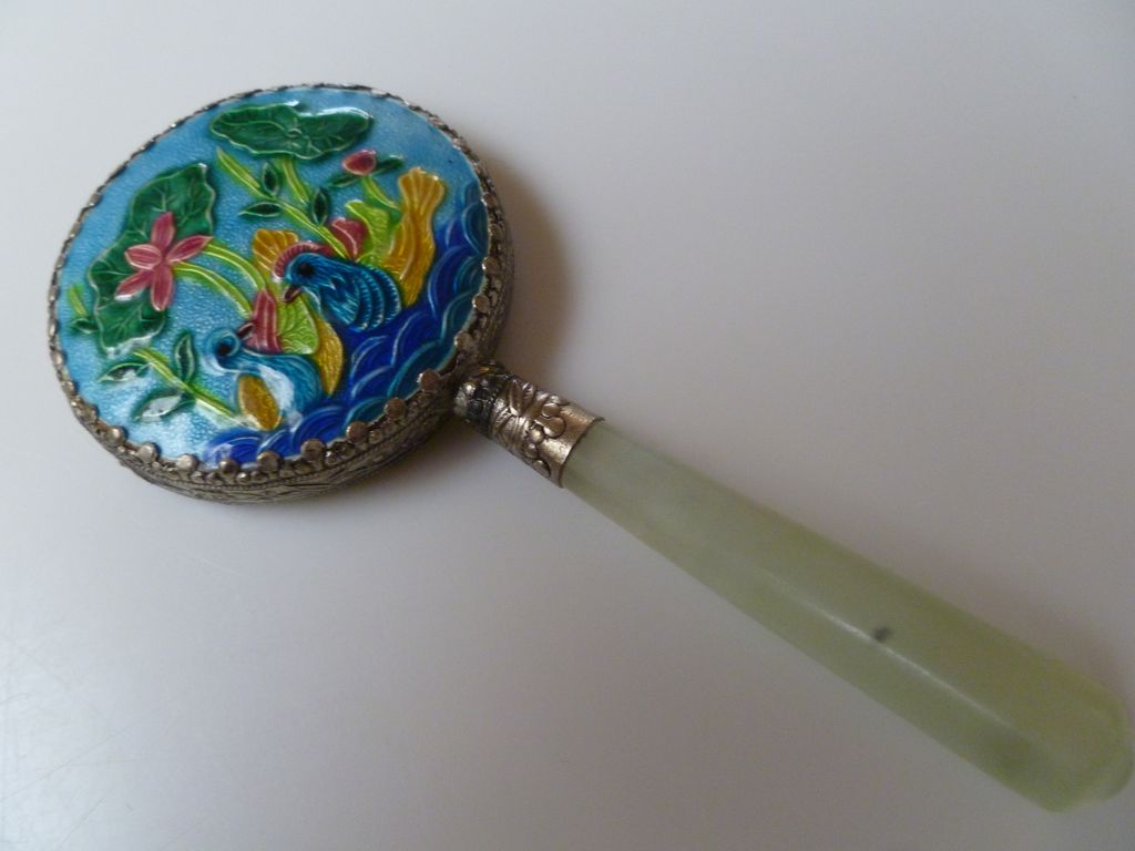 Antique Oriental Chinese Enameled Hand Mirror with Jade Handle
