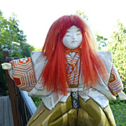 Vintage Japanese Kimekomi Doll of Noh Theatre Character