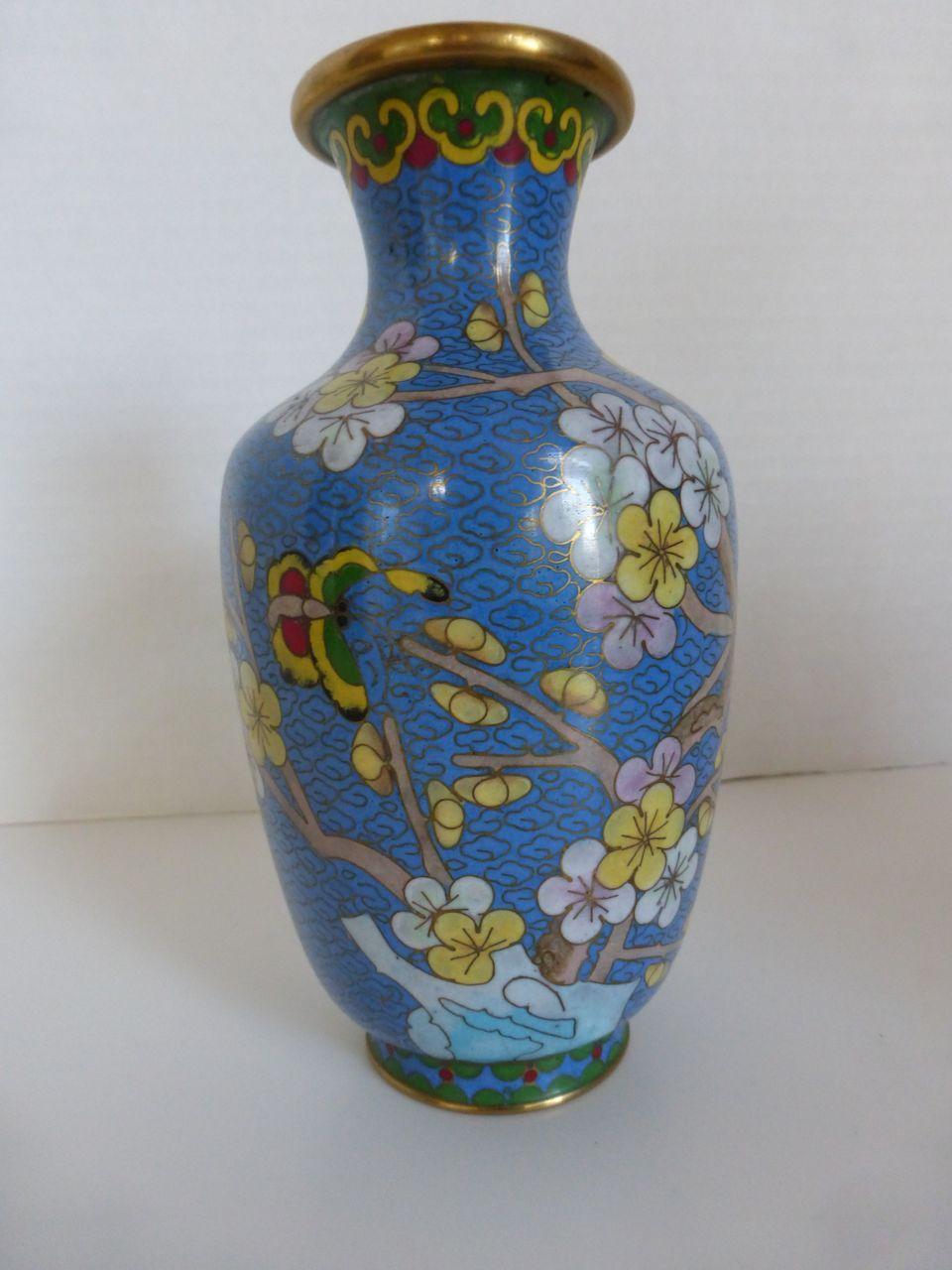 Vintage Cloisonne Cherry Blossom Vase