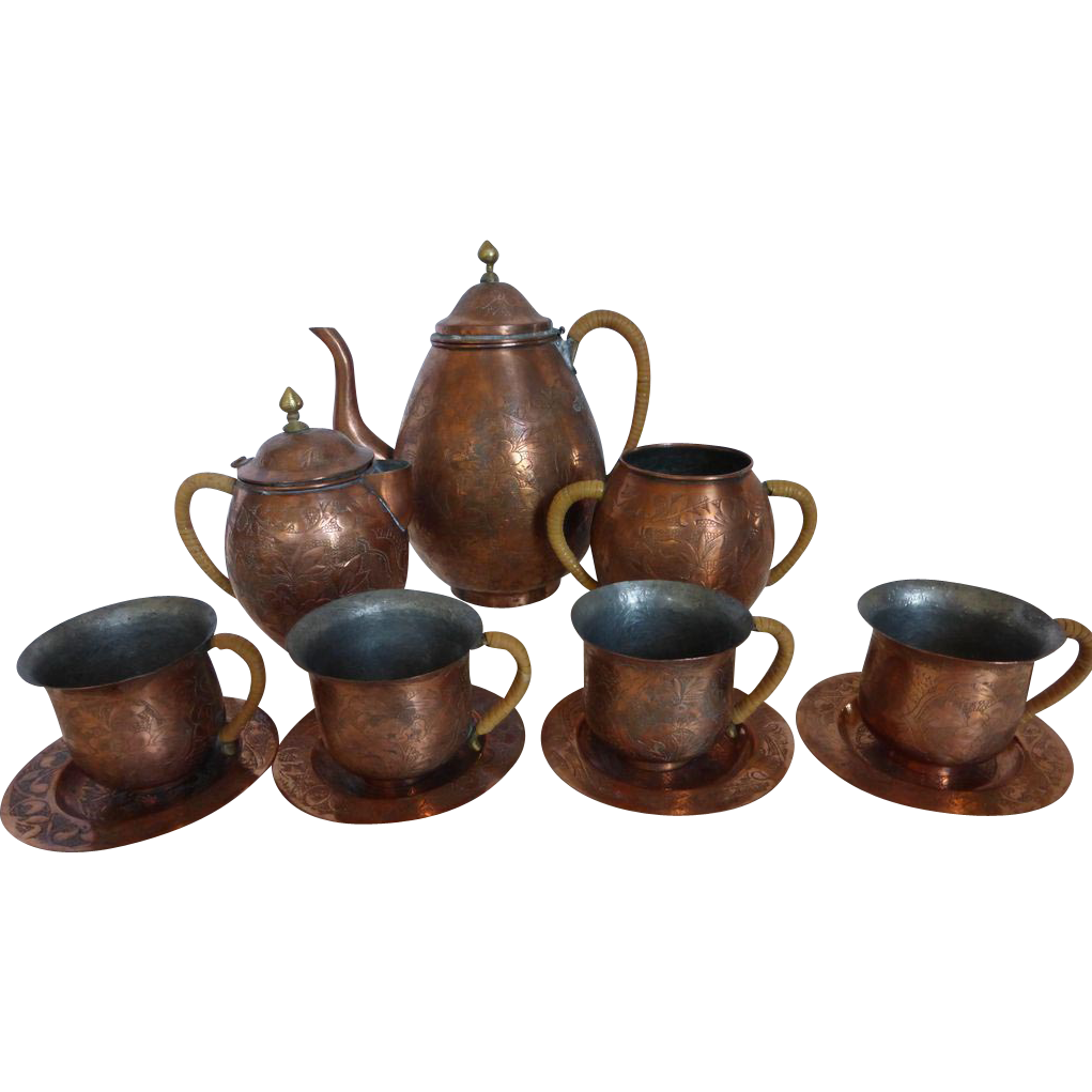 Antique Chinese Copper And Brass Tea Set Etched