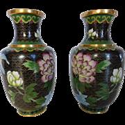 Vintage Cloisonné Vases Pair