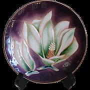 Mid-Century ANDO Japanese Enamel Brass Plate Lotus Flower