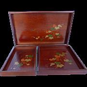 Vintage Japanese Wood Suzuri-buta Nesting Serving Trays Hand Painted Set of 3