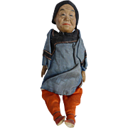 Antique Asian Chinese Old Woman Doll Hand Painted Original Clothes