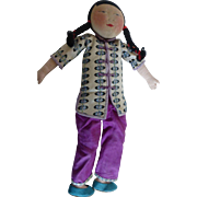 Chinese Cloth Doll Painted Face Original Silk Clothes 13 In