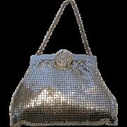 Whiting & Davis Silver Mesh Bag w Rhinestone Clasp Art Deco Frame MINT