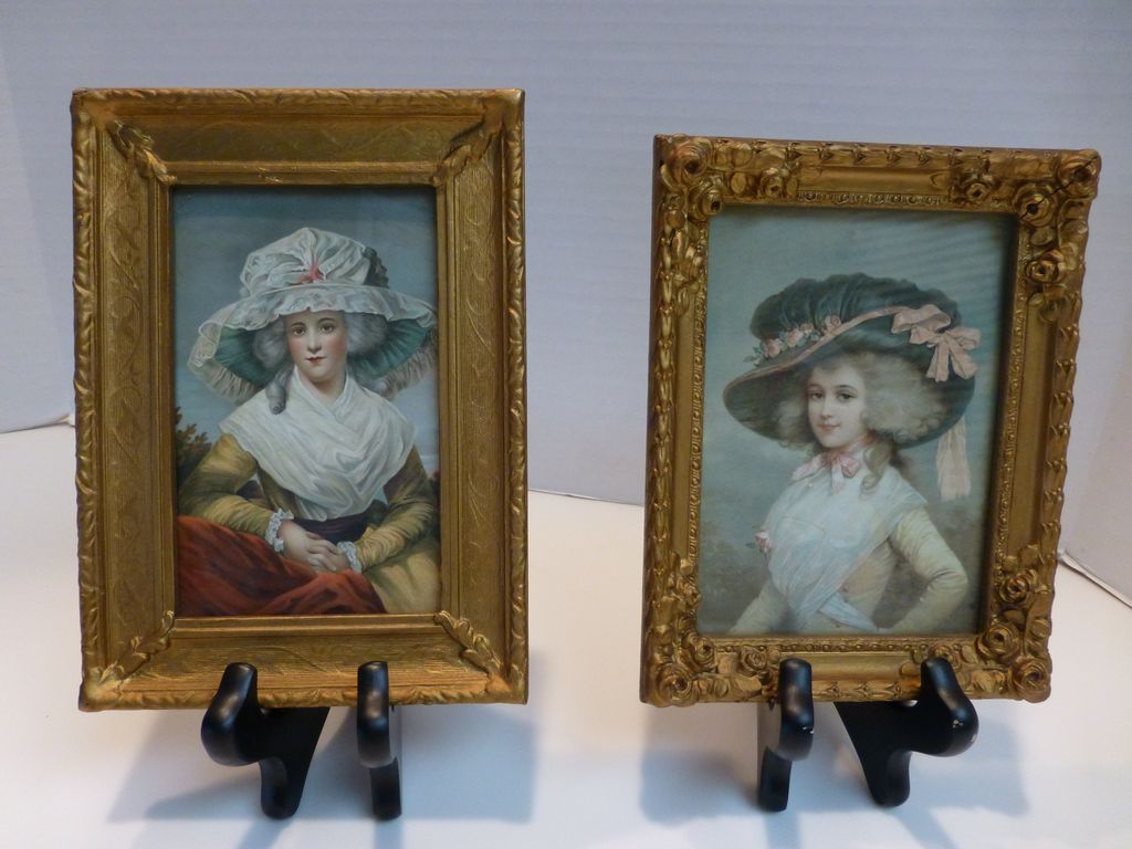 Antique Petite Parisian Portrait Prints Gilt Framed - Pair