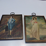 Antique Pinkie & Blue Boy Prints in Arts & Crafts Copper Frames PAIR