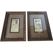 Vintage H. Hal Kramer Co, Chicago Antiqued Prints Framed PAIR
