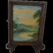 Vintage Framed Print Pastoral Landscape Original Gesso Frame