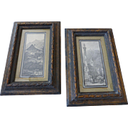 Vintage Framed Block Prints of Swiss Alp Village Scenes Original Frames Pair
