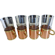 Vintage Beucler Cobras Barware Irish Coffee Mugs Glass w Copper & Brass in Box Set of 4