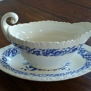 Wedgwood Cornflower Blue Gravy Boat and Under Plate