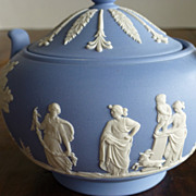Wedgwood Jasperware Blue Sugar Bowl with Lid