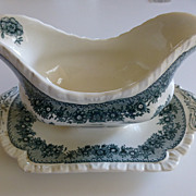 Mason's Ascot Green Transfer Ware Gravy Boat with Attached Under Plate