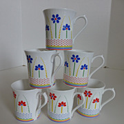"Queen's English Bone China ""Dolly Daisies"" Mugs Set of 6"