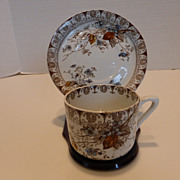 Antique Rosaline Brown Transfer Ware Flat Cup & Saucer Set (4 Sets Available)