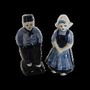 Hand Painted Delfts Holland Blue Dutch Girl & Boy Salt & Pepper
