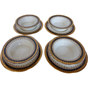 "Antique BOOTHS English Bone China ""Or Repousse"" 4 Crème Brûlée Dishes w Under Plates Cobalt-Gold England"