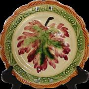 Vintage Majolica Painted Leaf Pattern Plate Japan