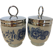 Royal Worcester Egg Coddlers  Rhapsody Pattern Standard Size Pair