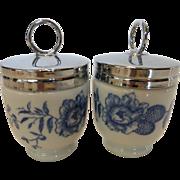 Royal Worcester Egg Coddlers  Rhapsody Pattern Standard Size Pair