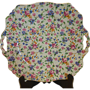 Royal Winton Old Cottage Chintz Ascot Square Handled Cake Dessert Plate England