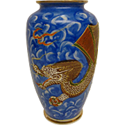 Satsuma Moriage Flying Dragon Vase Hand Painted