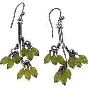 Vintage Peridot and Sterling Silver Chandelier Earrings
